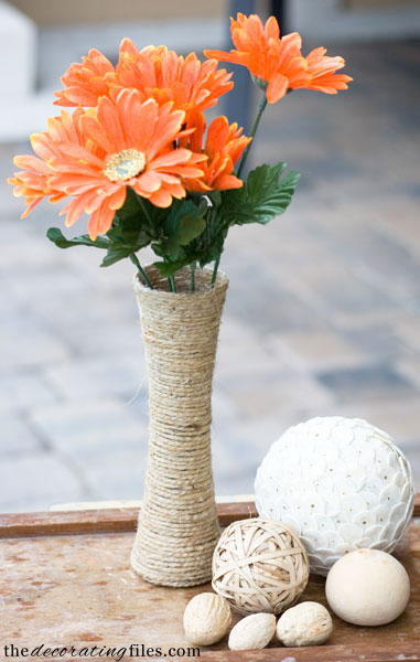 Diy Jute Covered Glass Vase The Decorating Files
