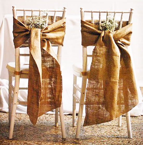 Burlap Chair Bows