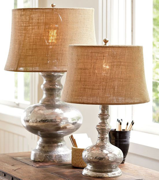 Burlap Lamp Shades Mercury Glass Lamp