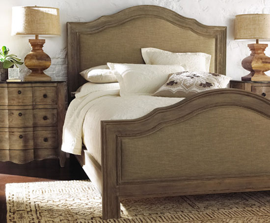 Burlap Upholstered Bed