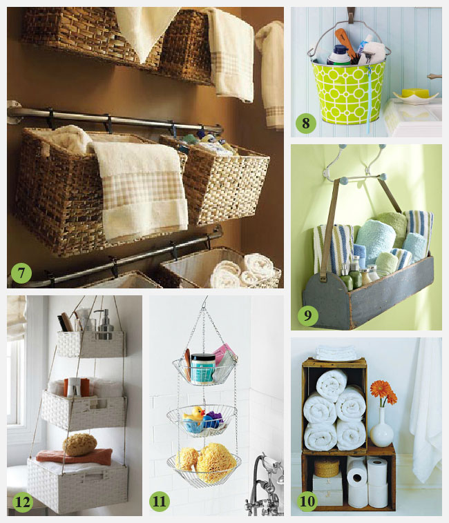 creative storage idea for a small bathroom interior