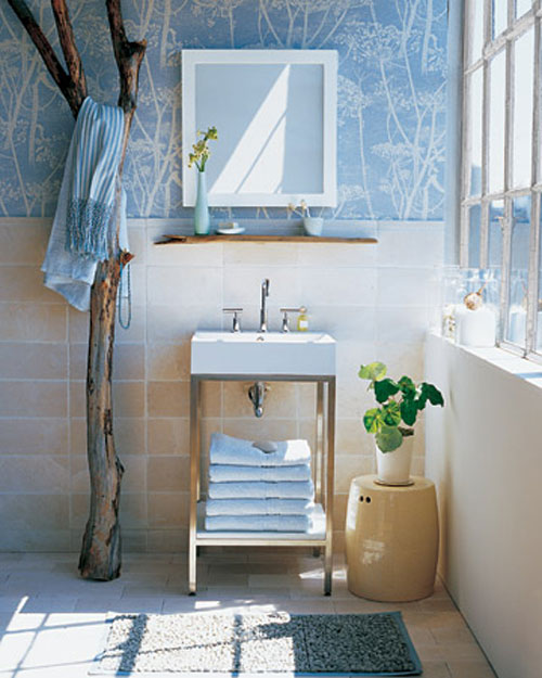 Decorating With Blue Bathroom Wallpaper