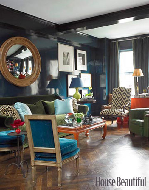 Decorating With Blue Lacquered Walls