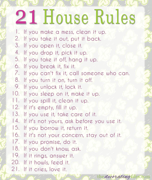 21 rules of this house chart game