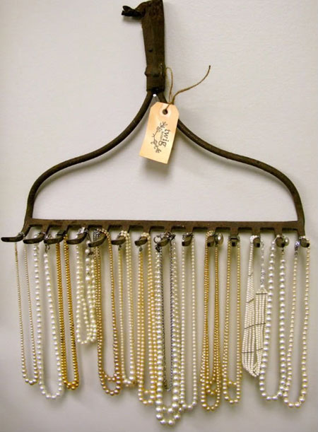 Recycled Rake used as a Jewelry Organizer