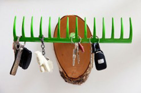 Recycled Rake used as a Key Rack