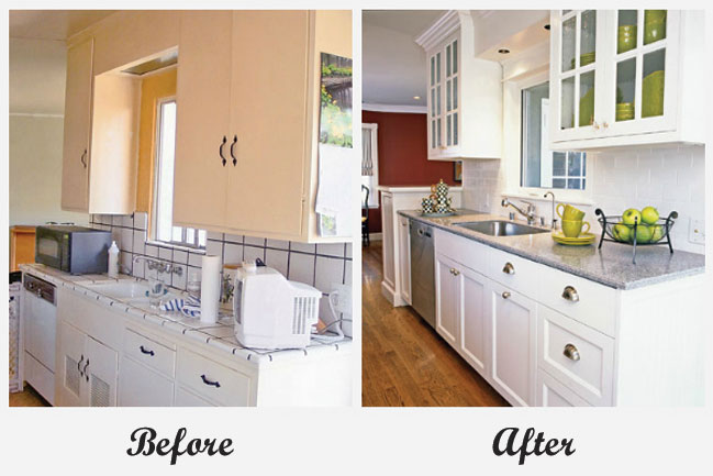 Room makeovers each featuring a very different before and for Before after kitchen makeovers