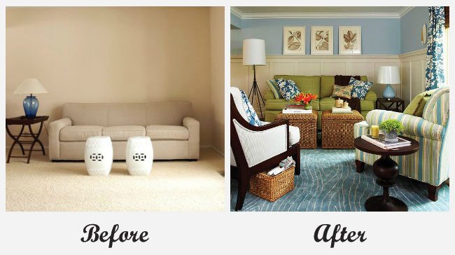 Room makeovers each featuring a very different before and for Living room makeover