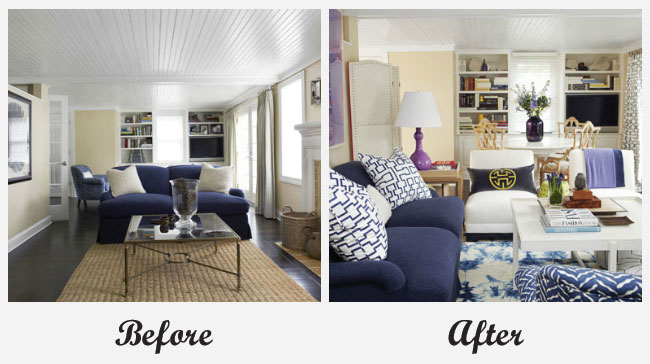 Room makeovers each featuring a very different before and - Small space makeovers ideas ...