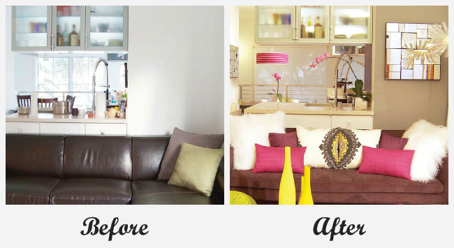 Room makeovers each featuring a very different before and for Living room makeovers