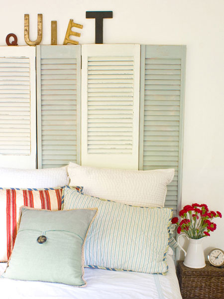 Home DIY Projects Shutter Headboard