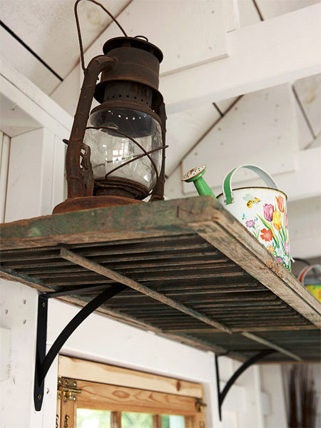 Home DIY Projects Shutter Shelf Iron Brackets