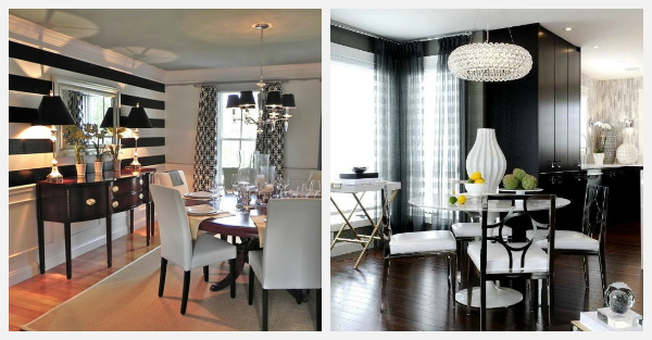 Decorating with black and white ideas for every room for Black and white dining room decorating ideas