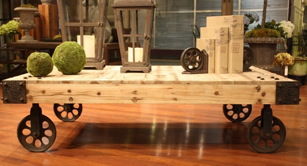 DIY Coffee Tables Industrial Coffee Table on Wheels