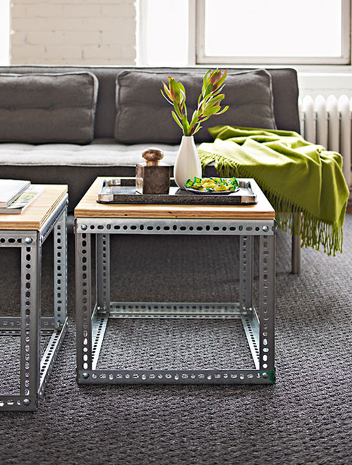 DIY Coffee Tables: Industrial Side Tables used as Coffee Table