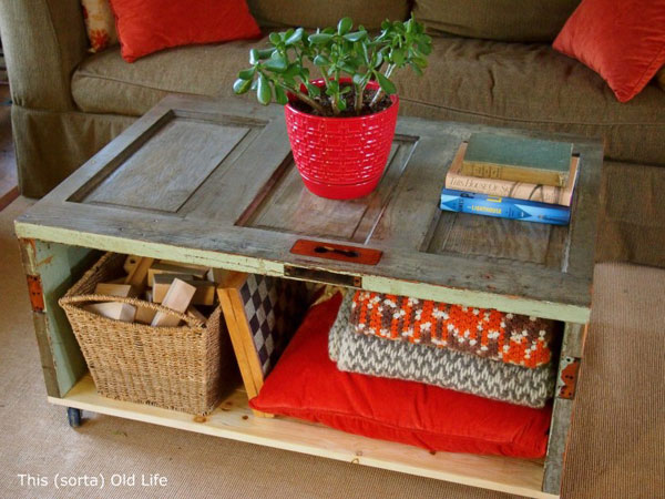 DIY Coffee Tables: Make a coffee table out of salvaged doors