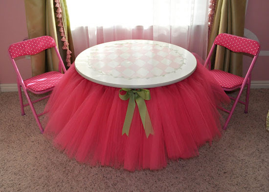 Tutu Table Skirt: Bring style to a tea party by adding a pink tutu to the table