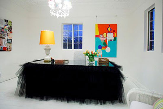 Tutu Table Skirt: Interior designer Anna Spiro wrapped her office desk in black tulle.