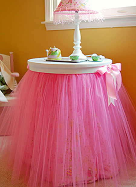 Tutu Table Skirt Pink Tulle Added To An End Creates A Feminine For