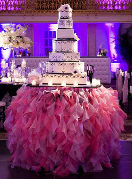 Tutu Table Skirt: This wedding cake table is made all the more special with a pink tulle table skirt