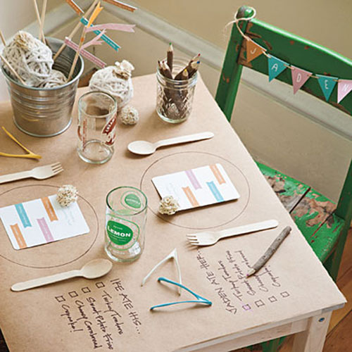 Kids Thanksgiving Table Ideas: For the pint sized diners, cover a small table with craft paper and draw a circle where each plate will go. Next to each spot, write of to-do list so they can check off the menu items as they eat.