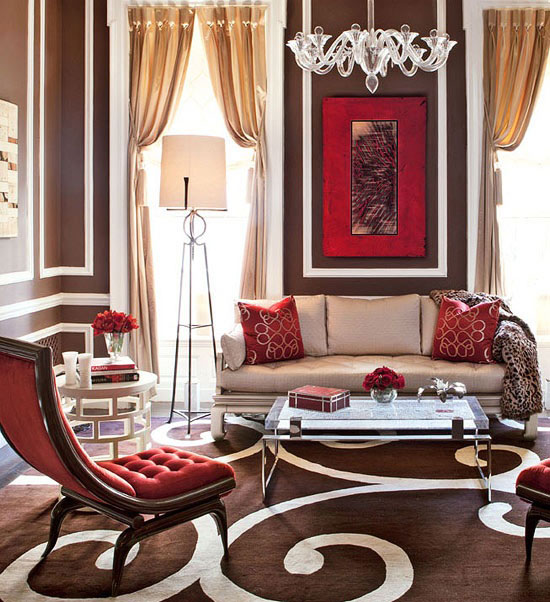 Jewel Tone Colors Ideas And Inspiration For Your Home: red accents for living room
