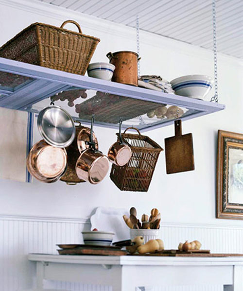 DIY Pot Rack Ideas: An old screen door adds lots of interest to this country kitchen while offering up tons of storage space.