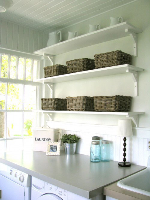 Laundry room ideas budget friendly and easy to do for Laundry room shelving