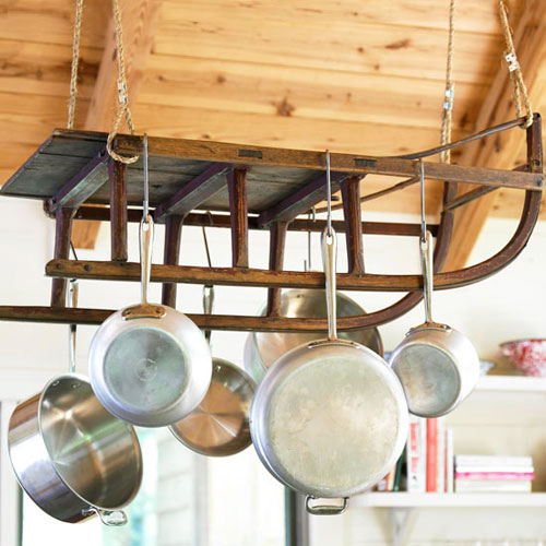 DIY Pot Rack Ideas: How clever to turn a vintage sled into a pot rack!