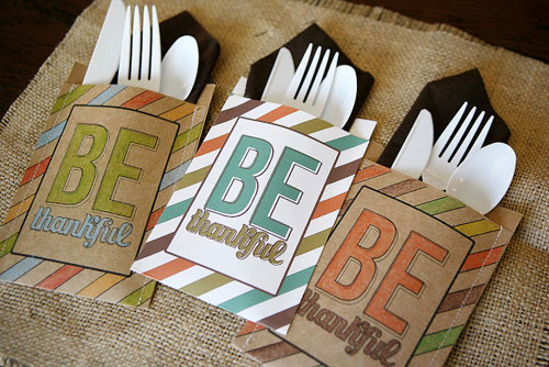 Kids Thanksgiving Table Ideas: Add a little something extra to each place setting with these creative Be Thankful utensil holders.