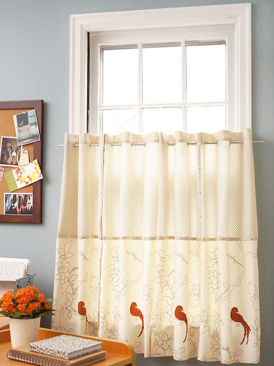 No-Sew Curtains: These cute cafe curtains are made out of cloth patterned napkins. Join the edges of the napkins together using jean rivets spaced 2 inches apart. Place grommets along the top edge and thread a curtain rod through them.