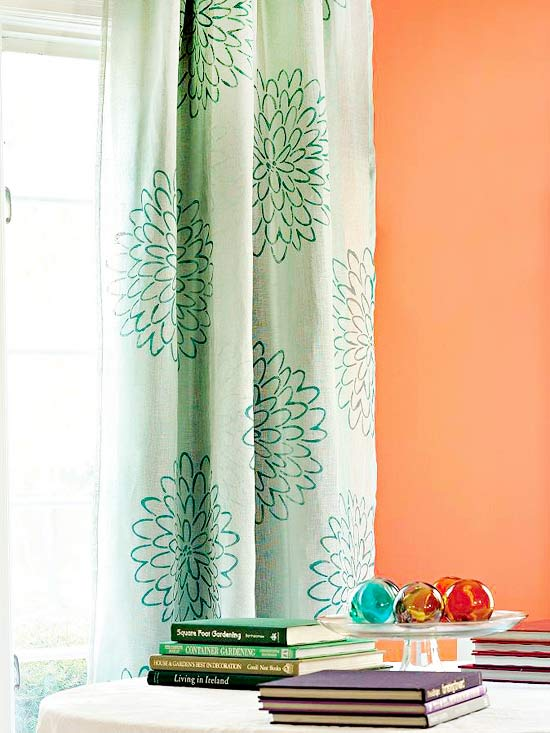 No-Sew Curtains: Take plain curtain panels and dress them up with a beautiful stencil. Lay the panel flat and place draft paper behind it so that it absorbs the paint. Then place the stencil on top of the panel and paint with fabric paint.