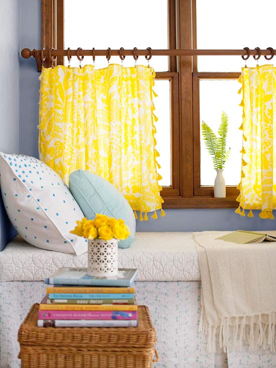 No-Sew Curtains: This treatment requires a tablecloth with a decorative edge like tassels, ruffles or scallops. Cut the tablecloth into 2 panels (a 60-inch square works the best because it can just be cut in half.) Hem the cut edge with iron-on tape. Hang from the hemmed edge with clip rings.