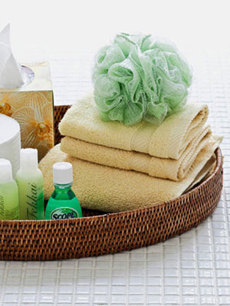 Guest Room Essentials: For the convenience of your guests, put together a basket of toiletries they may need. You can purchase travel sizes at most discount stores.