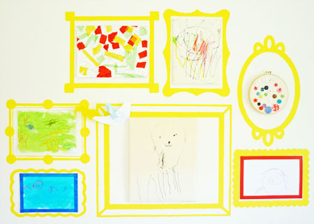 Ideas to Display Kid's Artwork: Paint frames on the wall or use removable fabric decals to create perfect places to highlight a child's creativity.