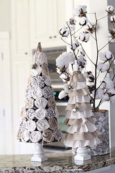 christmas decorating diy projects these rosette and ruffle trees were made out of inexpensive burlap