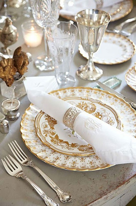 christmas table ideas decorating with silver and gold vintage gold china and sterling silver - Silver Christmas Table Decorations