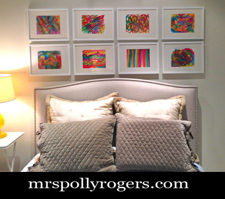 DIY Decorating Ideas: When decorating a room, art can be one of the more costly elements. To save money, make your own. This colorful wall of abstract art was done with water colors and ten dollar Ikea frames. And you don't need to be an artist to create these fun pictures. Watercolor Abstract Art Tutorial