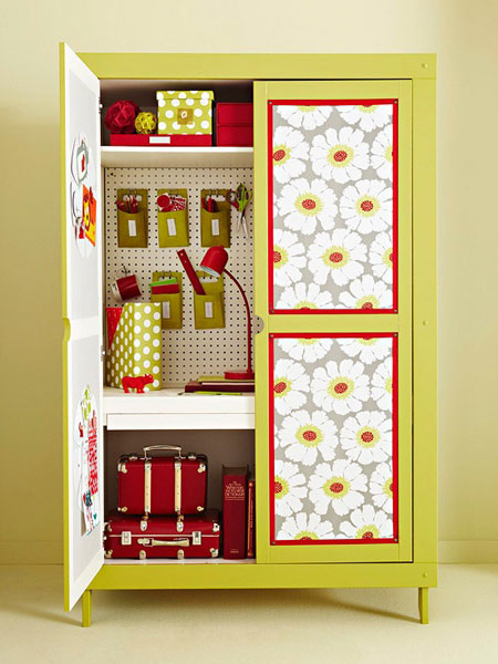 Small Space Storage Ideas: Transform an armoire into a pantry, linen closet or craft storage. It's a great way to increase storage in any small space.