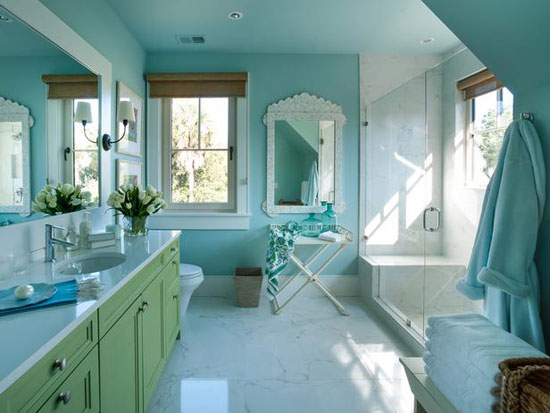 Turquoise Room Ideas: This bathroom designed by Linda Woodrum is part of the bedroom suite in the HGTV Dream Home 2013.