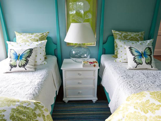 Turquoise Room Ideas: This cheery bedroom was designed by Linda Woodrum for HGTV'S Dream Home 2013. The turquoise, blue and green palette celebrates the home's coastal location. See more pictures and read about this space here.