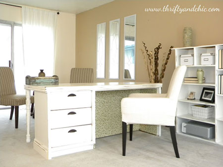"DIY Decorating Ideas: This fabulous desk was made out of an outdated old dresser from the 70s. You really need to check out the ""before"". It's amazing what you can do with a jigsaw! Dresser to Desk Tutorial"