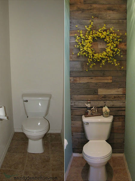DIY Decorating Ideas: Pallets are inexpensive and extremely versatile. In this powder room, they've been used to accent a wall. It added so much style and interest to the room. Pallet Wall Tutorial