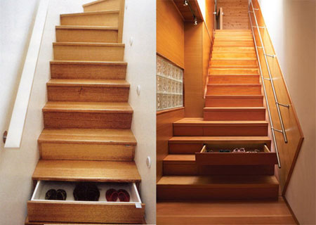 Small Space Storage Ideas: Here's a great idea that utilizes the space beneath the stairs. Turn the steps into drawers. Lots of stairs means lots of storage drawers.