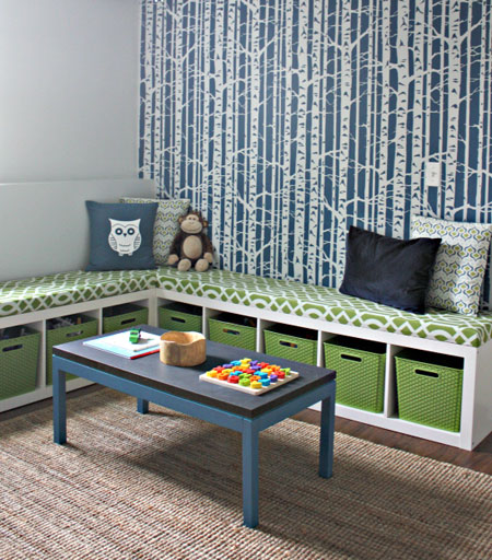 DIY Decorating Ideas: These storage benches were made by turning 2 Ikea Expedit bookshelves on their sides. Then they were filled with baskets and topped with cushions. Storage Bench Tutorial