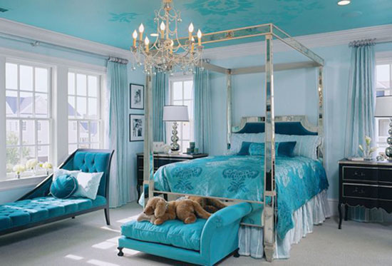Turquoise Room Ideas: Turquoise is everywhere in this over-the-top idea house bedroom, including the ceiling. The duvet cover was the inspiration for the room. The pattern and colors in it were used to create the design on the ceiling.