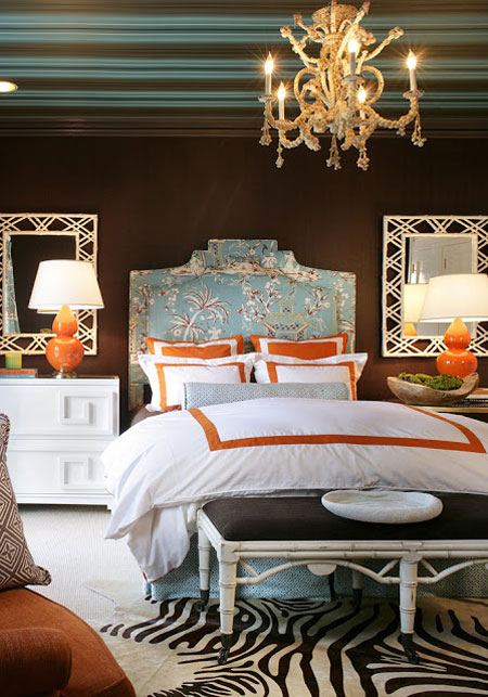 Turquoise Room Ideas: Orange and brown are anything but plain when joined by accents of turquoise. The result is very warm, while the addition of white keeps things fresh and crisp.