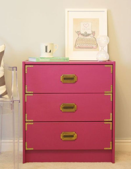 Ikea Hacks on Thrifty Thursday: Brass hardware and a bold color turn a plain Rast chest into a modern campaign chest. Campaign Chest Tutorial