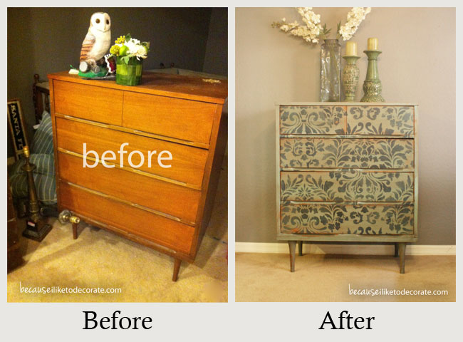 Furniture makeovers the amazing power of paint - Before and after old dressers makeover with a little paint ...
