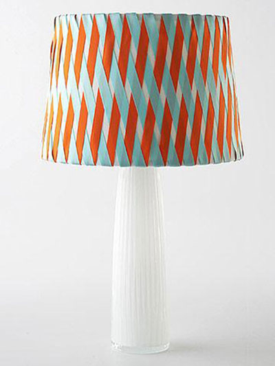 DIY Decorating Ideas: Transform a plain drum shade by adding colorful ribbons in an eye-catching crisscross pattern. This is a no-sew project. Crisscross Lampshade Tutorial
